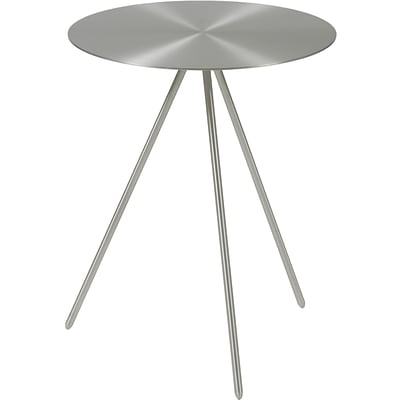 Euro Style™ Faith 16 Steel Round Side Table, Brushed Nickel
