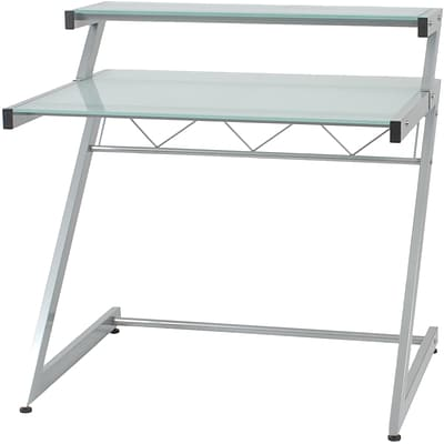 Euro Style™ Z Deluxe Aluminum/Tempered Frosted Glass Small Desk, Box