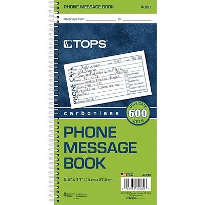 TOPS® Phone Message Book, Ruled, 2-Part, White/Canary, 11 x 5 1/2, 1/Ea (4008)
