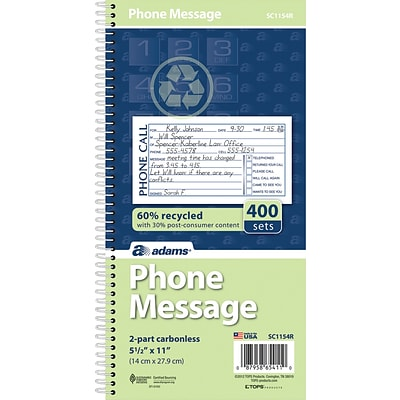 Adams® Phone Message Book, Ruled, 2-Part, White/White, 11 x 5 1/2, 1/Ea