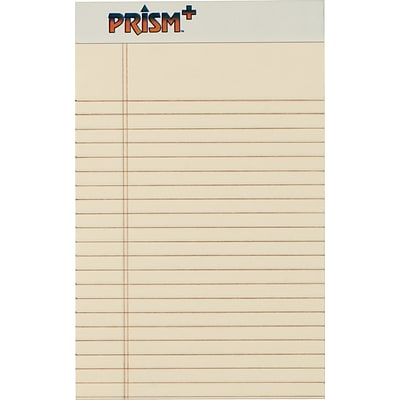 Prism+™ Legal Notepad, Ivory, Perforated, Rigid Back, 50 Sheets/Pad, 12 Pads/Pack, 5 x 8