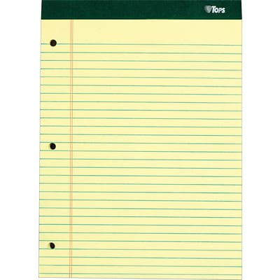 TOPS® Double Docket Notepad, 8-1/2 x 11-3/4, Legal Rule, Canary, 3-Hole Punched, 100 Sheets, 6 Pads/Pack (63387)