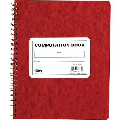 TOPS® Computation Wirebound Notebook, 11 3/4 x 9 1/2, Quad Ruling, 76 sheets