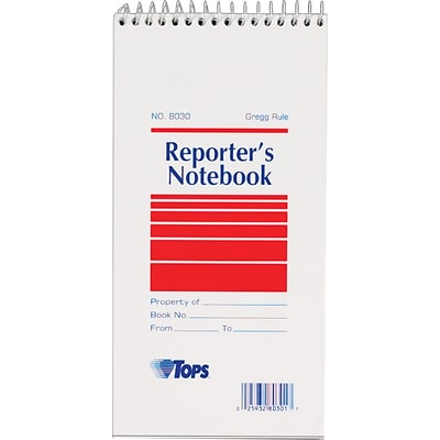 TOPS Reporters Wirebound Notebook, 4 x 8, Gregg Ruling, 70 sheets, 12/Pack