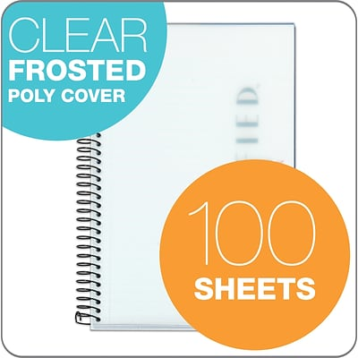 Oxford Poly 1-Subject Notebook, 5 1/2 x 8 1/2, Narrow Ruled, 100 Sheets, White (99711)