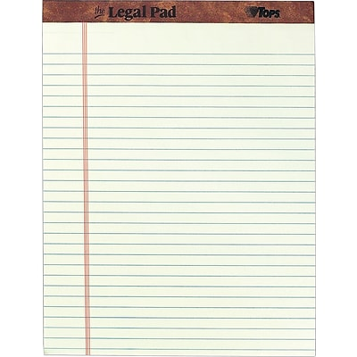 TOPS The Legal Pad Writing Pad, 8-1/2 x 11-3/4, Legal Ruled, Greentint, 50 Sheets/Pad, 12/Pack (7534)