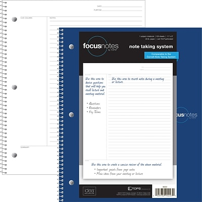 Tops® FocusNotes® Notebooks, 9x11 Spiral, 100 Sheets
