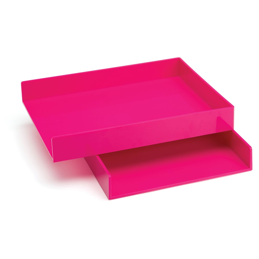 Poppin Pink Letter Trays | Quill.com