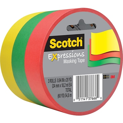 Scotch® Expressions Decorative Masking Tape, Green, Yellow & Red, 1 x 20 yds, 3/Pack