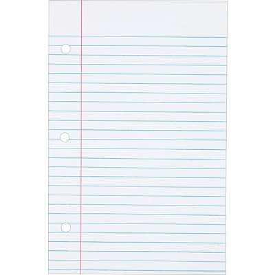 TOPS® Loose Notebook Filler Paper; White, College Ruled, 8 1/2 x 5 1/2, 100 Sheets, 100/Pk