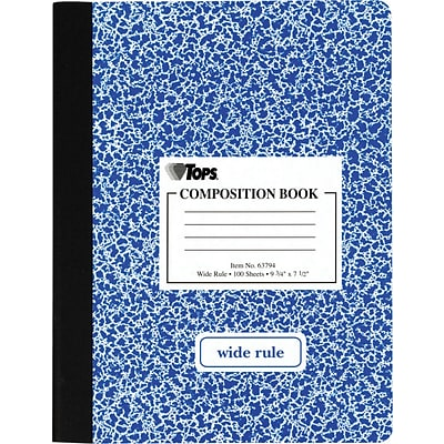 TOPS 1-Subject Composition Notebooks, 7.5 x 9.75, Wide Ruled, 100 Sheets, Assorted Colors (TOP 63794)