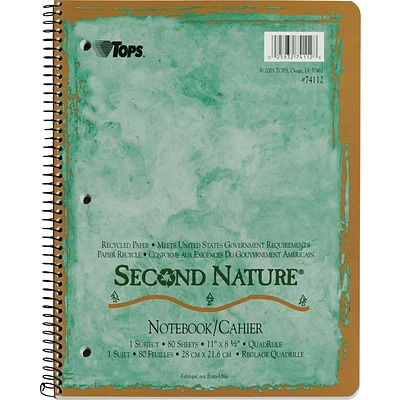 TOPS® Second Nature® Wirebound Notebook, 11 x 8 1/2, Quad Ruling, 80 sheets