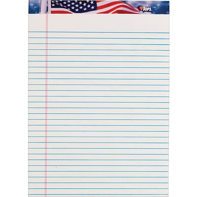 TOPS American Pride™ Writing Tablet, White, Legal Ruled, 8 1/2 x 11 3/4, 50 Sheets/Pad, 1/Pk