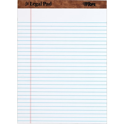 TOPS® The Legal Pad™ Writing Pad, White, Legal Ruled, 8 1/2 x 11 3/4, 50 Sheets/Pad, 1/Ea
