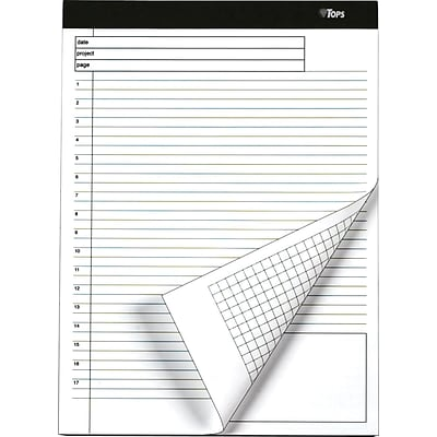 TOPS® Docket® Gold Project Planning Pad, White, Special Ruled, 8 1/2 x 11 3/4, 40 Sheets/Pad, 1/Pk