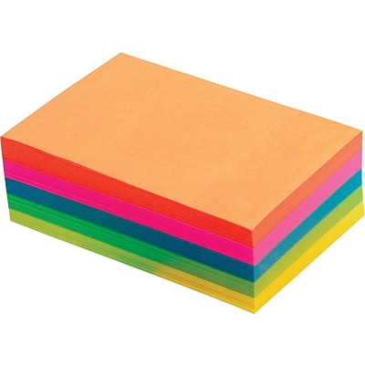 TOPS® Fluorescent Memo Sheet, Assorted, Blank Ruled, 4 x 6, 500 Sheets/Pad, 1/Pk