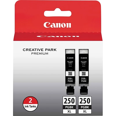 Canon PGI 250XL Twin Black Ink Cartridge, High Yield, 2/Pack (6432B004)