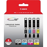 Canon® 251BK/251CMY Black and Tri-Color Ink Cartridge Multi-pack (4 cart per pack)