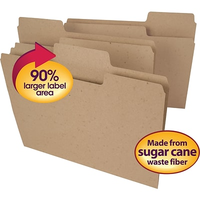 Smead® Tree Free SuperTab Oversized 3-Tab File Folders, Letter, Natural Brown, 100/Bx (10751)