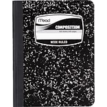 Mead® Square Deal® Black Marble Composition Book, Wide Ruled, 1-Sub, 9-3/4 x 7-1/2
