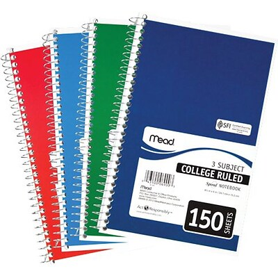 Mead® Spiral Bound Notebook 9-1/2x6, College Ruling, Assorted Colors, 150 Sheets/Pad