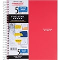 Five Star® Wirebound Notebook, 5 Subject, College Ruled, 11 x 8-1/2, Red (72077)