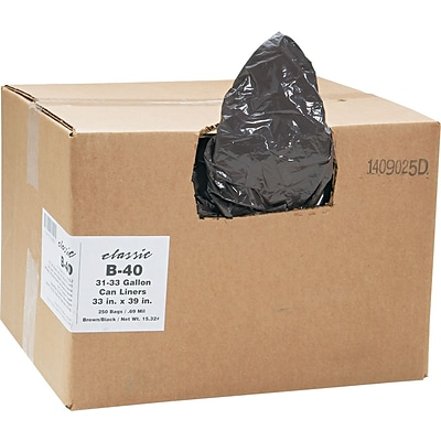 Classic Linear Low-Density Can Liners Trash Bags, 0.63 mil Thickness, Black, 33 gal, 250/Carton (WEBB40)