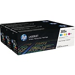 HP 305A (CF370AM) Cyan/Magenta/Yellow Original LaserJet Toner, Multi-pack (3 cart per pack)