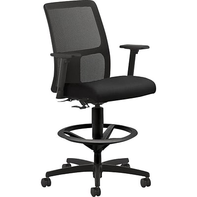 HON® Ignition Task Stool, Fabric/Mesh Back, Black, Seat: 19W x 15 3/4D, Back: 17 1/2W x 23/4- 23 3/4H
