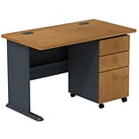 Bush Business Cubix 48W Corner Desk with 3Dwr Mobile Pedestal, Natural Cherry/Slate