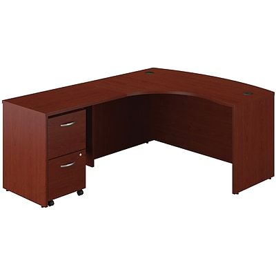 Bush Business Westfield 60W Left Handed Bow Front Desk, Return Bridge & 2-Drawer Pedestal, Cherry Mahogany