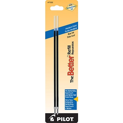 Pilot Ball Point Pen Refill, Medium Point, 1.0 mm, Blue Ink, 2/pk