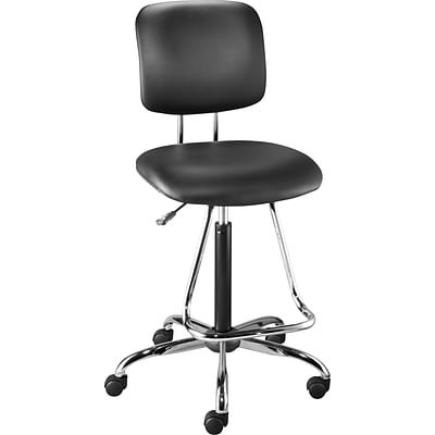 Quill Luxura Drafting Stool with Teardrop Footrest, Black