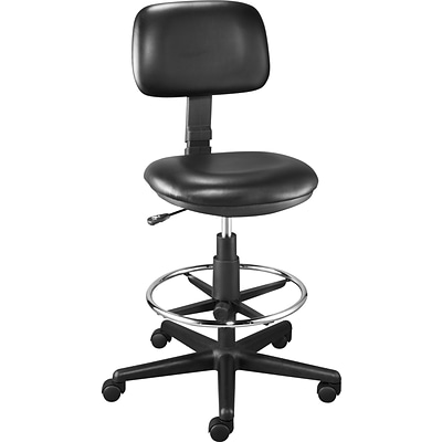 Quill Brand® Luxura Faux Leather Drafting Stool With Backrest And Footrest, Black (25093-CC)
