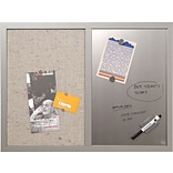 MasterVision Combo Fabric/Dry-Erase Board, Gray Wood Frame, 18Hx24W