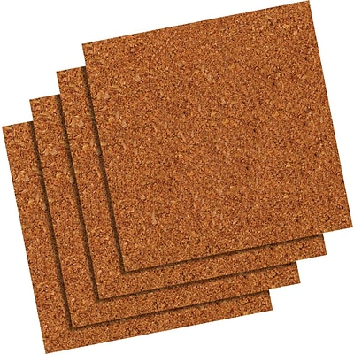 Quartet® Natural Cork Tiles, 12 x 12, Frameless, Modular, 4 Pack