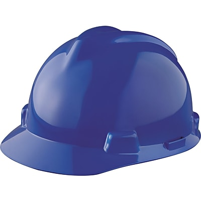 MSA Safety® V-Gard® Slotted Hard Hats, Polyethylene, Standard, Staz-On, Cap, Blue