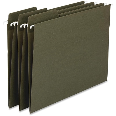 Smead® 100% Recycled FasTab 3-Tab Colored Hanging File Folders, Legal, Moss, 20/Bx (64137)