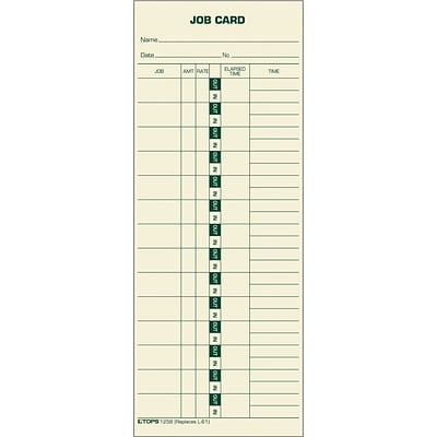Tops® Time Cards, Job Time Record, 500/Box