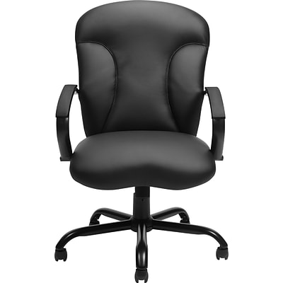 Offices To Go® Big and Tall Executive Chair, Luxhide Leather, Black, Seat: 26x28, Back: 26x43