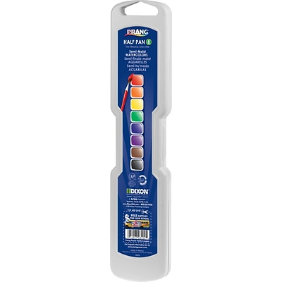 Dixon Professional Watercolor Set with Brush; Assorted Colors, Half Pans, 8/Set