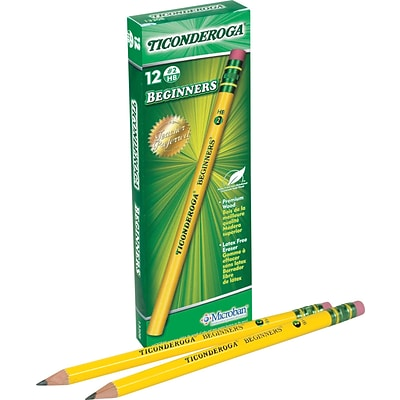 Dixon Ticonderoga® Beginners® Primary Woodcase Pencils with Eraser, #2 Soft, Yellow Barrel, 12/Box