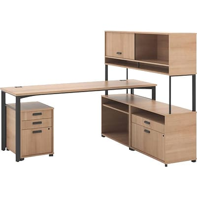 HON Manage L-Workstation, Desk, 2 File Centers, Pedestal, Overhead, 72W x 60D, Wheat Laminate, Ash Finish NEXT2018 NEXTExpress