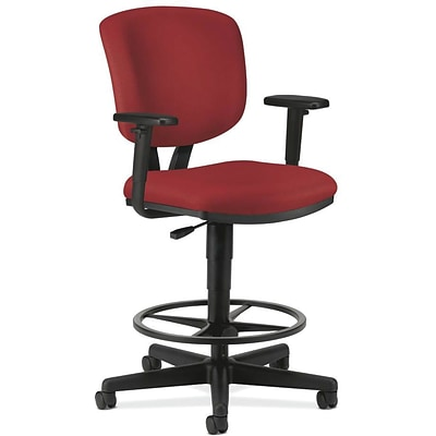 HON Volt® Swivel Mid-Back Task Stool with Arms, Fabric, Crimson, Seat: 27W x 29 1/2D, Back: 16 1/2W x 20H