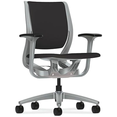 Purpose Task/Computer Chair for Office and Computer Desks, Platinum Frame, Black