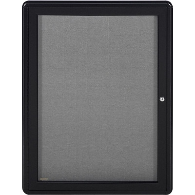 Ghent Ovation 1 Door Enclosed Fabric Bulletin Board with Black Frame, 3H x 2W, Gray