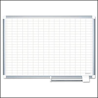 MasterVision® Magnetic 1x 2 Grid Planner 24x36, Aluminum