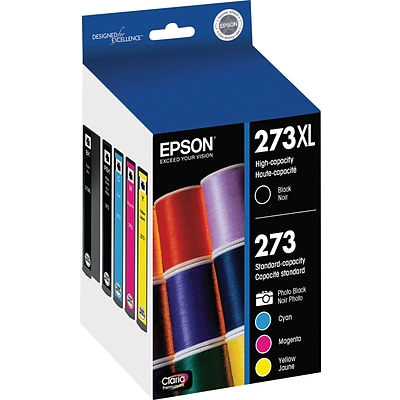 Epson 273XL/273 High Yield Black and Standard Photo Black and Color C/M/Y Ink Cartridges (T273XL-BCS