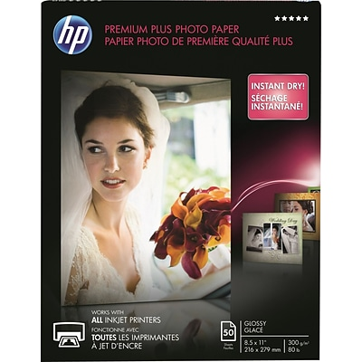 HP Premium Plus Photo Paper , 8 1/2 x 11, Glossy, 50/Pack