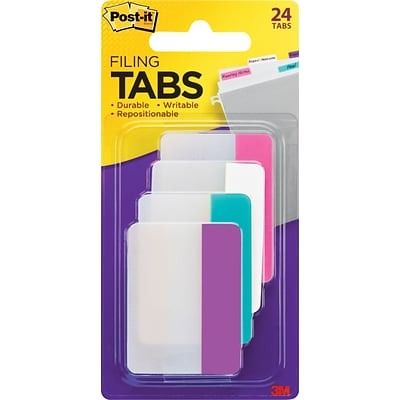 Post-it® Durable Filing Tabs, 2 Wide, Assorted Colors, 24 Tabs/Pack (686PWAV)